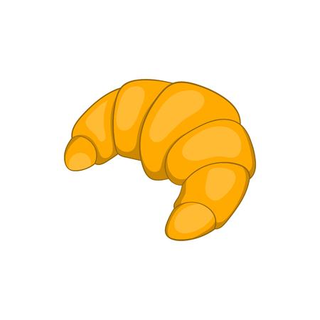 Icono de croissant en estilo de dibujos animados sobre un fondo blanco Ilustración de vector