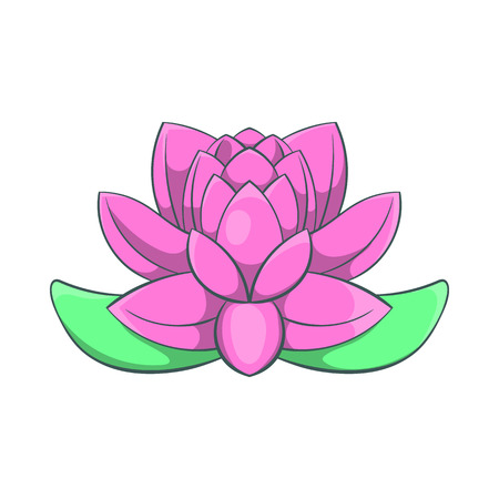 Pink lotus flower icon in cartoon style on a white background Illustration