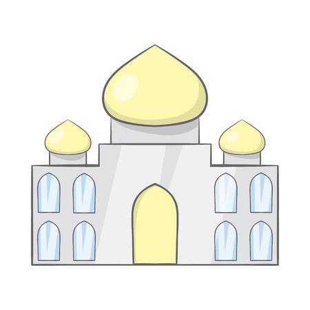 Taj Mahal, India icon in cartoon style on a white background