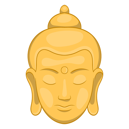 Head of Buddha icon in cartoon style on a white background