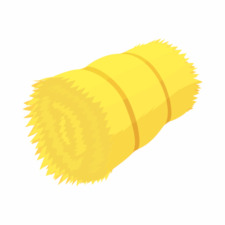 Hay bale icon in cartoon style on a white background