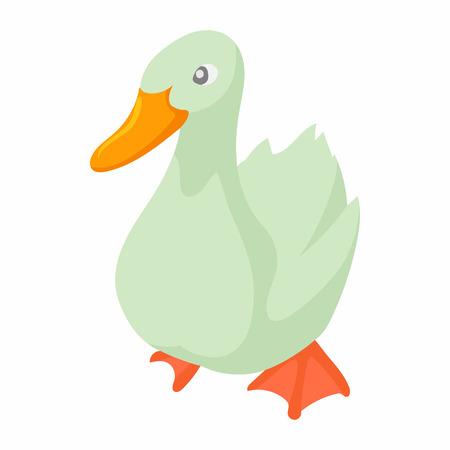 White goose icon in cartoon style on a white background