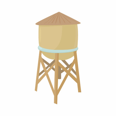 Water tower icon in cartoon style on a white background