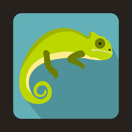 Green iguana icon in flat style with long shadow. Reptiles symbol Illustration