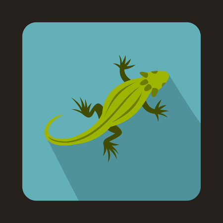 Striped iguana icon in flat style with long shadow. Reptiles symbol