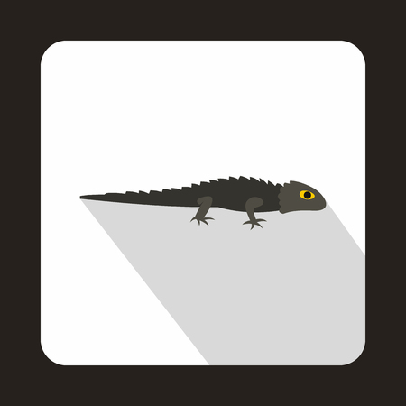 Grey iguana icon in flat style with long shadow. Reptiles symbol