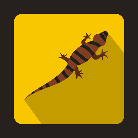 Striped chameleon icon in flat style with long shadow. Reptiles symbol Illustration