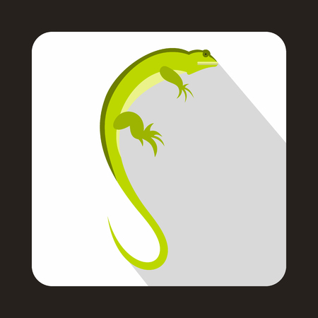 Long iguana icon in flat style with long shadow. Reptiles symbol Illustration