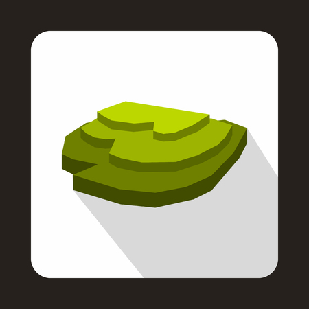 Rice field icon in flat style with long shadow. Plants symbol