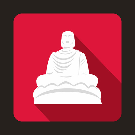 Buddha statue icon in flat style with long shadow. Monuments symbol Stock Vector - 105610540
