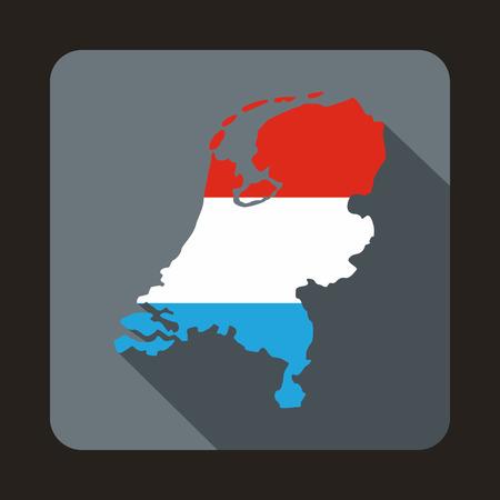 Kaart van Holland pictogram in vlakke stijl met lange schaduw. Staat symbool