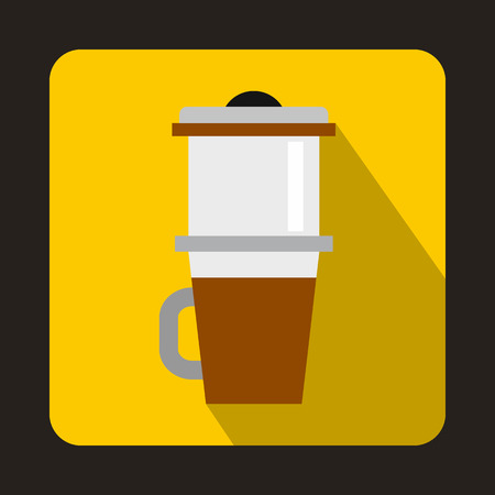 Mug for coffee icon in flat style with long shadow. Dishes symbol