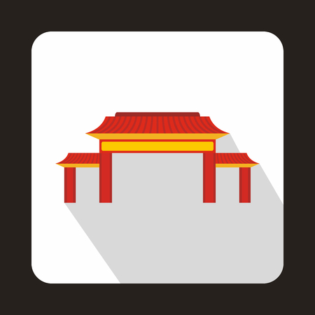 Pagoda icon in flat style with long shadow. Building symbol Illustration