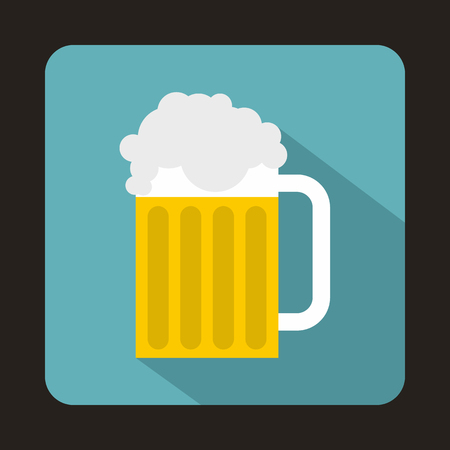 Beer mug icon in flat style with long shadow. Drinks symbol