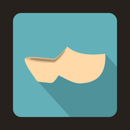 Clogs icon in flat style with long shadow. Shoes symbol