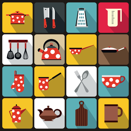 Kitchen tools and utensils icons in flat style vector illustration