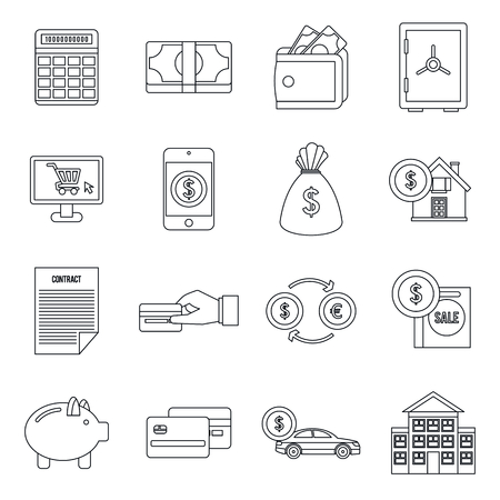 Credit icons set in outline style isolated vector illustration Stock Illustratie