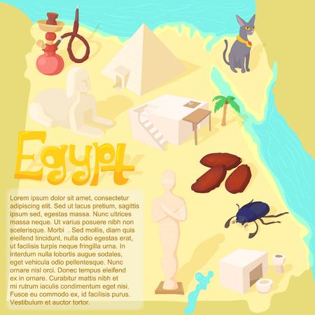 Design Egypt map travel and landmark concept vector illustration Stock fotó - 105610582