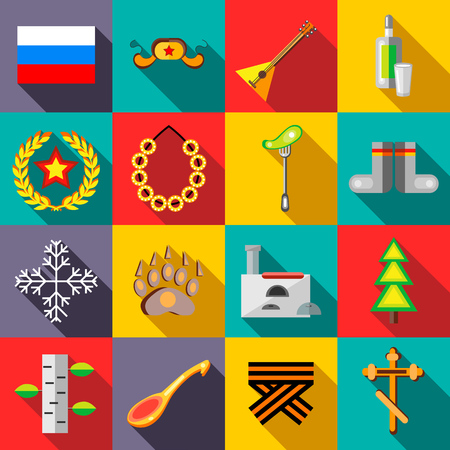 Russia icons set in flat style vector illustration Illustration