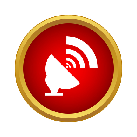 Satellite dish antenna radar icon in simple style on a white background Vecteurs