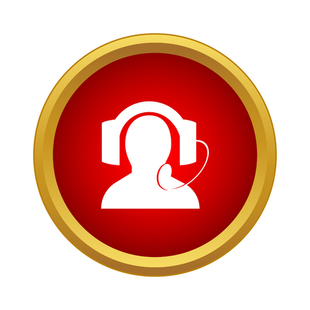 Call center operator icon in simple style on a white background Illusztráció