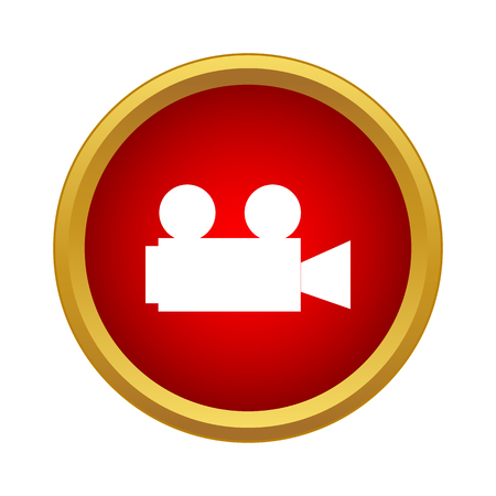 Retro cinema camera icon in simple style on a white background