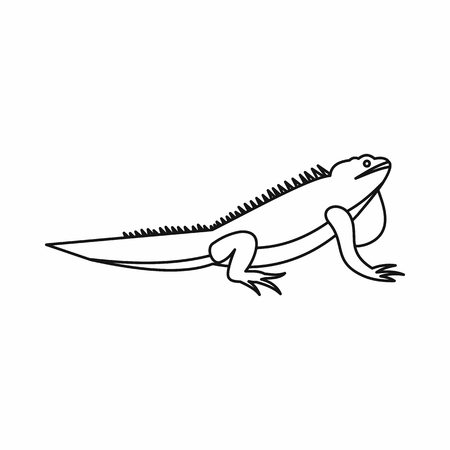 Iguana icon in outline style isolated vector illustration. Reptiles symbol