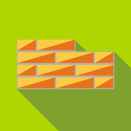 Brick wall icon in flat style with long shadow. Construction symbol