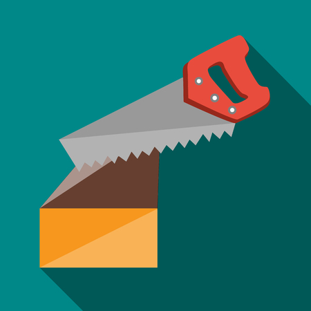 nag: Saw cuts log icon in flat style with long shadow. Tools symbol Illustration