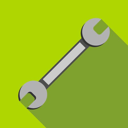 Wrench icon in flat style with long shadow. Tools symbol