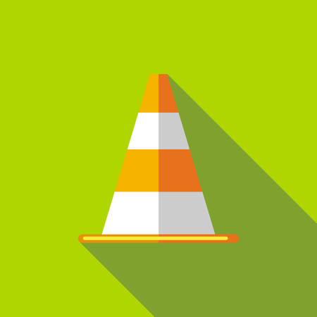 Traffic cone icon in flat style with long shadow. Tools symbol Illustration