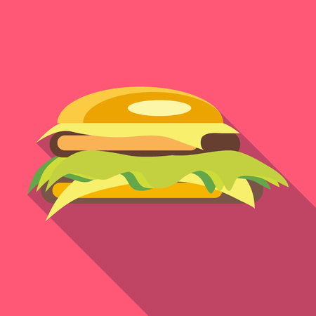 Hamburger icon in flat style with long shadow. Food symbol Illustration