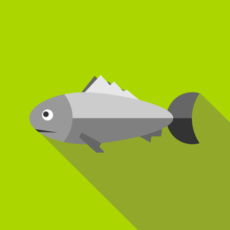 Grey fish icon in flat style with long shadow. Sea symbol