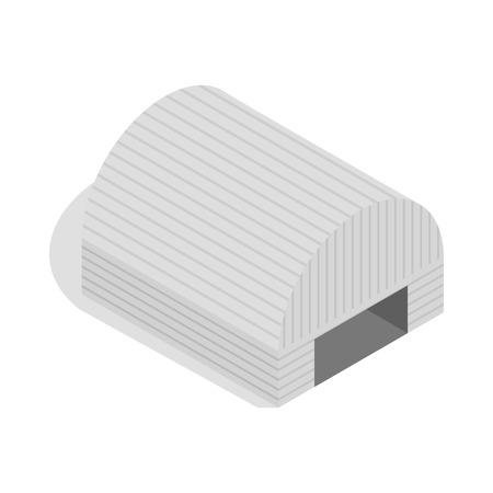 Icono de hangar en ilustración de vector aislado estilo isométrico 3d