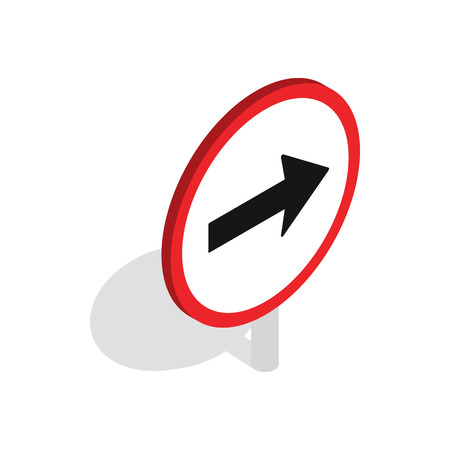 Right road sign icon in isometric 3d style isolated on white background