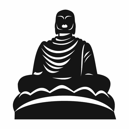Buddha statue icon in simple style isolated vector illustration. Monuments symbol Illustration