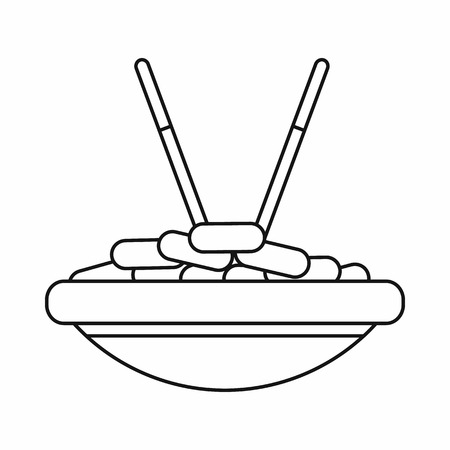 cooked rice: Bowl of rice with chopsticks icon in outline style isolated vector illustration. Food and utensils symbol Illustration