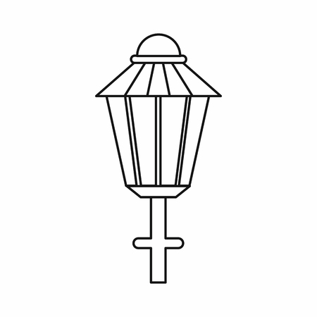 Street lamp icon in outline style isolated vector illustration. Light symbol Ilustração
