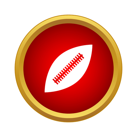 Professional rugby ball icon in simple style in red circle. Sport symbol