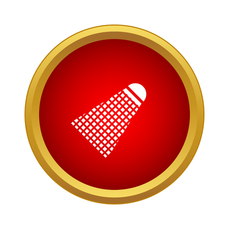 Badminton shuttlecock icon in simple style in red circle. Game symbol