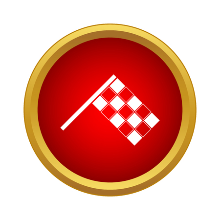 Racing flag icon in simple style in red circle. Sport equipment symbol Stock Illustratie
