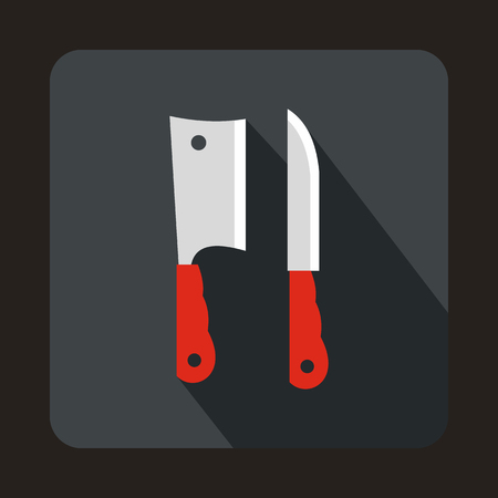 Kitchen knife and meat knife icon in flat style on a gray background