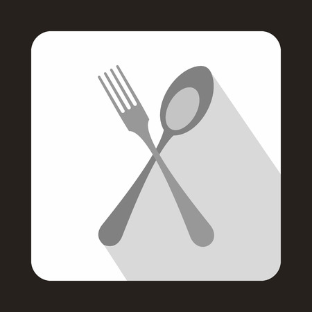 Spoon and fork icon in flat style on a white background