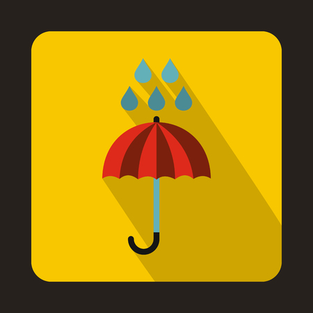 Red umbrella and rain drops icon in flat style on a yellow background Stock Illustratie