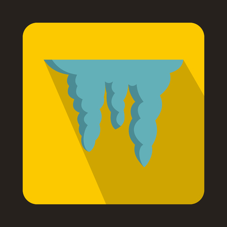 thaw: Icicles icon in flat style on a yellow background Illustration