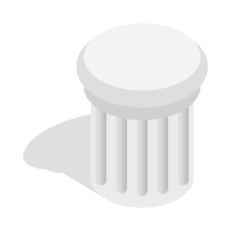 Classical column architecture element icon in isometric 3d style isolated on white background Illustration