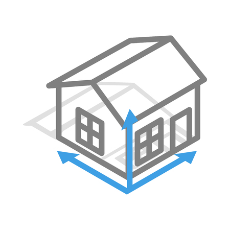 House drawing icon in isometric 3d style isolated on white background