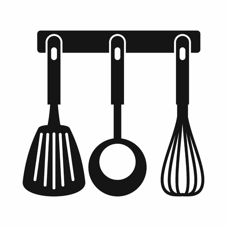 Spatula, ladle and whisk, kitchen tools on a hanger icon in simple style isolated vector illustration