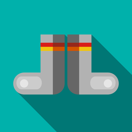 Russian traditional winter felt boots icon in flat style on a turquoise background