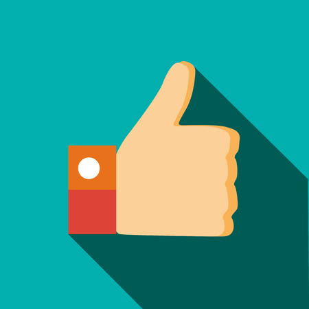 Thumb up gesture icon in flat style on a turquoise background